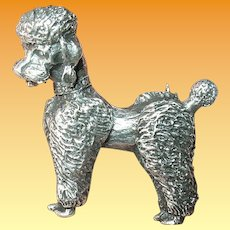 Vintage Sterling Poodle Brooch