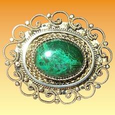 Vintage Sterling Vermeil Brooch Pendant Turquoise