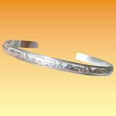 Vintage Sterling Cuff Bracelet Chased Design