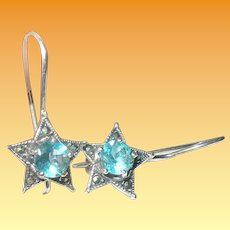 Vintage Sterling Star Earrings Faux Topaz