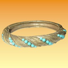 Vintage Hinged Bangle Faux Turquoise