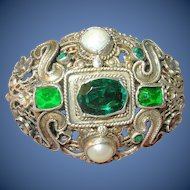 Antique Hungarian Silver Brooch Faux Emeralds