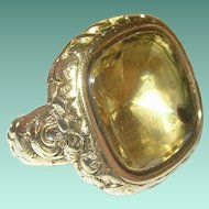 Victorian Gold Filled Watch Fob Lg Citrine