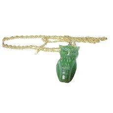 Vintage Gold Fill Necklace Jade Owl