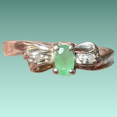 Vintage Sterling Ring Emerald Diamonds