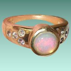 Vintage Sterling Vermeil Ring Mexican Opal Tanzanite