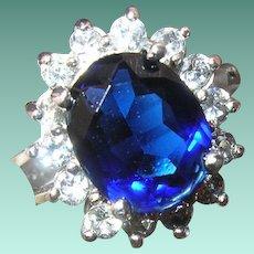 Vintage Sterling Ring Lg Blue Sapphire