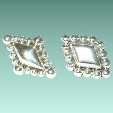 Vintage Sterling Earrings Raised Design