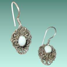 Vintage Sterling Drop Earrings White Opal Wire Design