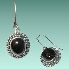 Vintage Sterling Earrings Black Onyx Drop