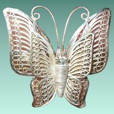 Vintage Sterling Butterfly Brooch Filigree Work