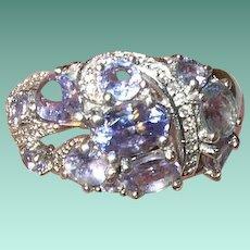 Vintage Sterling Ring Tanzanite Diamond
