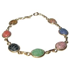 Vintage Gold Filled Bracelet Scarab Links Semi Precious Stones