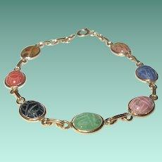 Vintage Gold Filled Bracelet Scarab Links Semi Precious Stones