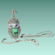 Vintage Sterling Necklace Pendant Owl