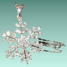 Vintage Sterling Necklace Pendant Faux Diamond