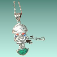 Vintage Sterling Necklace Pendant Coral Turquoise Mayan Figure