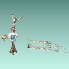Vintage Sterling Necklace Pendant Topaz Cross