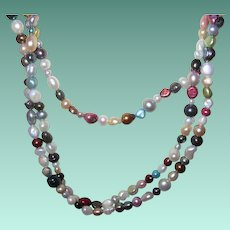 """Vintage Fresh Water Cultured Pearls Multicolored 70"""""""