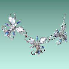 Vintage Sterling Blue Stones Link Necklace