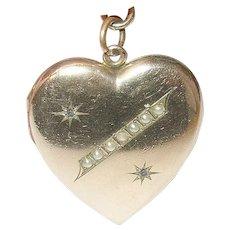 Edwardian Gold Filled Heart Locket Pendant