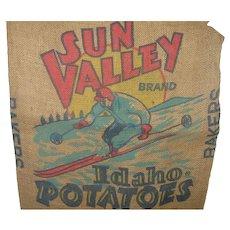 Vintage Idaho Potato Sack 100 lbs. Ski Graphic