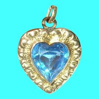 Vintage Gold Filled Heart Charm Art Glass