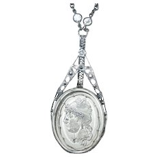 Art Deco Sterling Necklace Glass Cameo Pendant