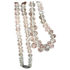 Vintage Rock Crystal Faceted Bead Necklace