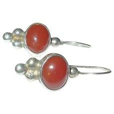Vintage Sterling Earrings Carnelian Cabochon