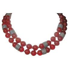 Art Deco Carnelian Sterling Bead Necklace Marcasite