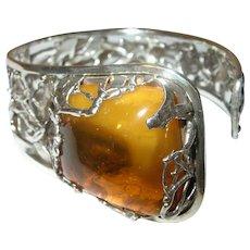 Vintage Brutalist 800 Coin Silver Polish Cuff Bracelet Amber