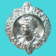 Antique Sterling Miniature Plaque Repousse