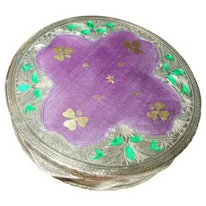 Vintage Compact 800 Coin Silver Enameled