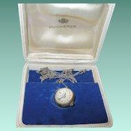 Vintage Bucherer Pendant Watch Sterling Swiss Crystal Skeleton Ball