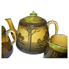Antique Royal Doulton Tea Pot Set 3pc. Landscape Pattern