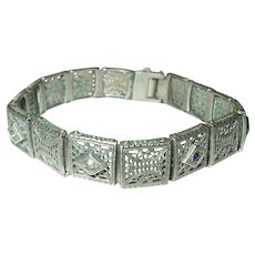 Art Deco Filigree Bracelet Sterling Links