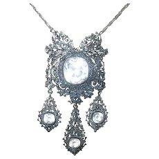 Victorian Paste Stone Tier Drop Pendant Necklace
