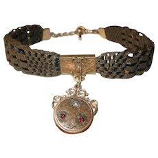 Victorian Hair Watch Chain Fob 1860's