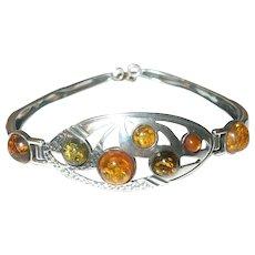 Vintage Bracelet Sterling Baltic Amber