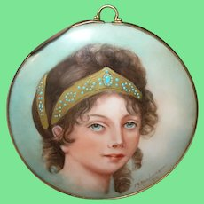 Miniature Portrait Painting Duchess Louise of Prussia