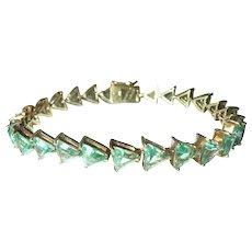 Vintage Link Bracelet Sterling Vermeil Natural Stones