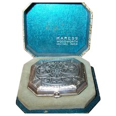 Vintage Silver Plated Powder Compact by Karess Woodworth