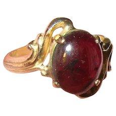 Vintage Gold Filled Ring Cabochon Garnet