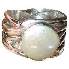 Vintage Modernist Ring Sterling Mabe Pearl