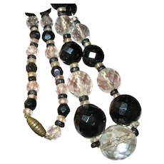 Vintage Faceted Glass Bead Necklace