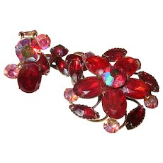 Vintage Brooch Earrings Set Red Rhinestones