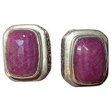 Vintage Sterling Large Ruby Earrings