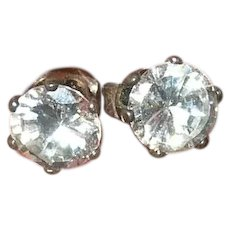 Vintage Sterling Stud Earrings Faux Diamonds
