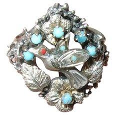 Victorian Sterling Silver Ring Lovebird